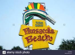 Pensacola Flag Pensacola Beach Sign Gulf Breeze Parkway Florida Stock Photo