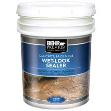 Concrete Patio Sealer Reviews by Behr Premium 5 Gal Wet Look Sealer 98505 The Home Depot