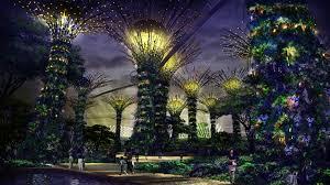 panorama beautiful gardens by the bay singapore singapore