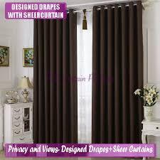 Brown Blackout Curtains Blackout Coffee Chocolate Brown Bedroom Door Drape Sheer Net