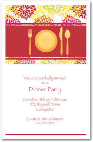 Dinner Party Invitations Place Setting On Floral Blooms Dinner Party Invitations