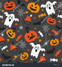 halloween seamless pattern spider web candy stock vector 493083265