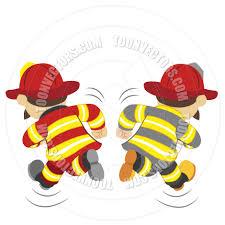 cartoon fireman running totallypic toon vectors eps 36940