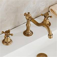 deck mounted double handled bathroom sink faucet
