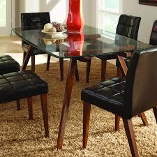 7 piece glass dining room set homelegance ezra 7 piece glass top dining room set in walnut