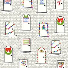 Naughty Decorations Cotton Fabric Holiday Fabric Naughty Or Nice Christmas Doors