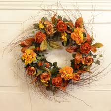 wispy gold and rust large silk floral wreath fl12 2 floral home
