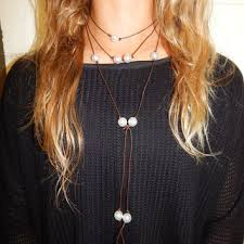 leather necklace long images Leather and freshwater pearl necklace from startwithstone on etsy jpg