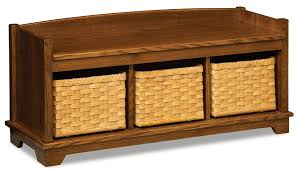 Storage Bench With Baskets Lattice Weave Storage Bench With Baskets