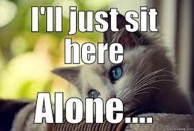 All Alone Meme - lonely cat quickmeme