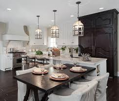 White Kitchen Interior Design  Decor Ideas PICTURES Dark - Kitchen island with attached table