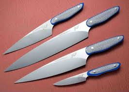 chef set with silver twill and blue g10 haslinger culinary knives
