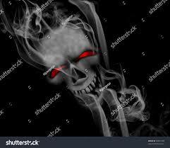 skull halloween background halloween background smoking skull red eyes stock illustration