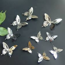 10pcs 3d stainless butterfly wall stickers mirror decals