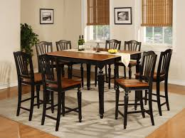 simple rustic square dining room table seats 8 painted with black