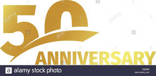 fiftieth anniversary isolated abstract golden 50th anniversary logo on white background