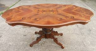 shaped dining table victorian style inlaid walnut shaped top pedestal dining table