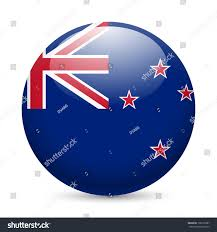 Flag New Zealand Flag New Zealand Round Glossy Icon Stock Vector 198125987
