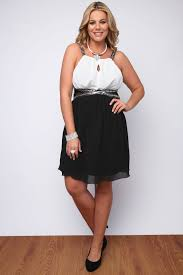 black and white chiffon dress with lace insert and sequins plus