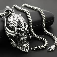 fashion skull necklace images 316l stainless steel big king vampire demon skull pendant 4d024 jpg