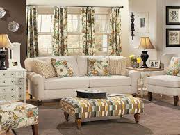Floral Living Room Furniture Country Living Room With White Sofa And Floral Curtains