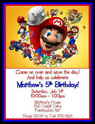12 printed super mario brothers personalized birthday invitations