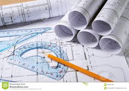 architecture plans architecture plans with pencil stock photo image of engineering