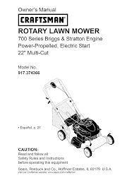 craftsman lawn mower 700 series user guide manualsonline com
