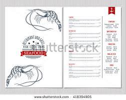 seafood menu design corporate identity document stock vector