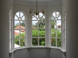 great white outside mount blinds for double arched windows with