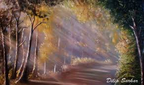 painting for beginners beautiful sun rays in forest