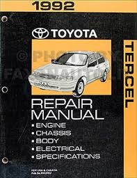 1992 toyota tercel repair shop manual original