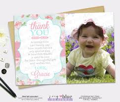 shabby chic thank you card pink blue roses birthday baby