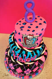 birthday cake monster high 3 tiers argyle pink purple blue