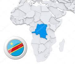 Republic Of Congo Map Democratic Republic Of Congo On Africa Map U2014 Stock Photo