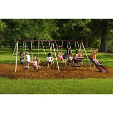 Backyard Playground Slides by Backyard Discovery Skyfort Ii Wooden Cedar Swing Set Walmart Com