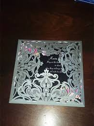 silver wedding invitations navy blue floral silver laser cut invitations ewws090 as low as