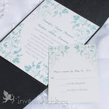 mint wedding invitations cheap mint green floral black pocket wedding invites iwps088