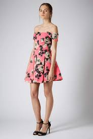 topshop bardot floral prom dress in pink lyst