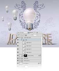 create an artistic scene with 3d light bulbs and type