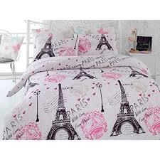 Pink And Black Duvet Set Amazon Com Pink Paris Duvet Cover Set Twin Size Eiffel Tower