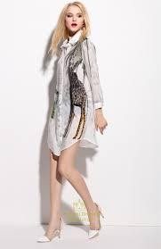white animal print chiffon shirt dress with long sleeve vampal