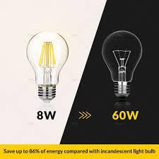 standard light bulb base e26 dimmable a19 led filament light bulb 8 watt 800 lumen 2700k