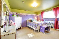purple and green bedroom purple and green bedroom interior stock photo image of home