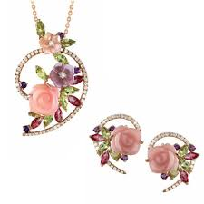 crystal heart necklace wholesale images Fashion heart resin flower crystal pendant earring wholesale 18k jpg