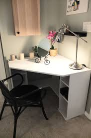 Diy Corner Desks Ikea Black Shaped Corner Desk With Shelves And Cabinet Ideas For