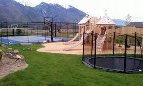 Backyard Sport Courts by Sports Court Trampoline In The Ground Play Ground Backyard