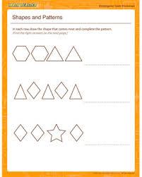 shapes and patterns u2013 kindergarten math worksheet printables