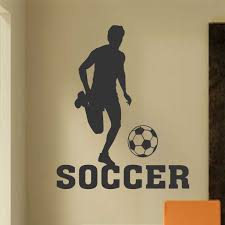 Sports Decals For Kids Rooms by Soccer Boy Player Silhouette Sports Decals Wall Lettering