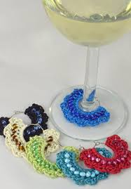 wine glass gifts wine glass markers crocheted set of 6 handcrafted dogwood